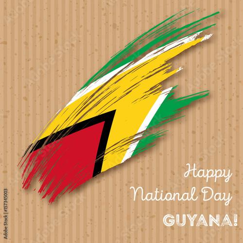 Guyana Independence Day Patriotic Design  Expressive Brush
