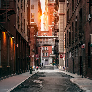 New York City street at sunset time. Old scenic street in TriBeCa district in Manhattan.