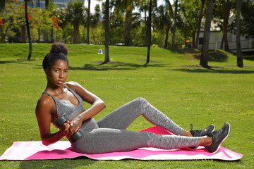 Fitness model in the park