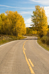 Open Road Scenic Journey Two Lane Blacktop Highway Fall Color
