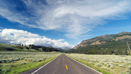 Open Road Mountain Background Journey Two Lane Blacktop Highway