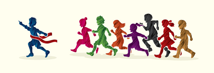 The winner Group of children running marathon, little boy and girl play together, team work , Friendship designed using colorful grunge brush graphic vector