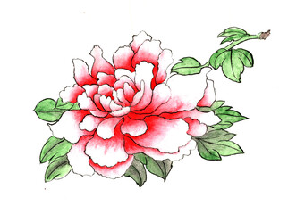 Ancient Chinese Traditional Brush Handmade Ink Painting - Peony