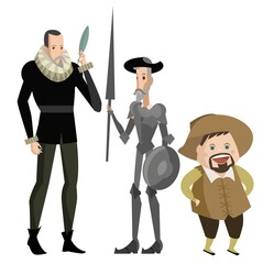 great spanish writer with quixote and sidekick