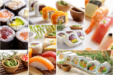 various sushi and japanese food on a collage