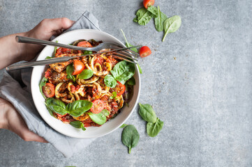 Chicken Zoodles with Tomato Sauce