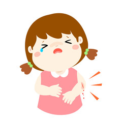Crying girl with wounds from accident vector .