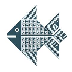 Тёмно-синее изолированное графическое декоративное изображение рыбы с геометрическими узорами из треугольников и квадратов.