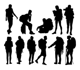 Hiker Sport Activity Silhouettes, art vector design