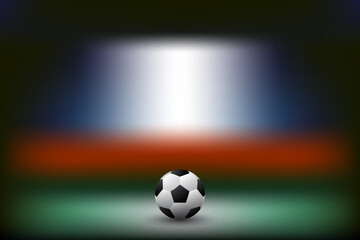 vector of soccer football on blurred stadium background
