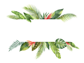 Watercolor banner tropical leaves and branches isolated on white background. Wall mural