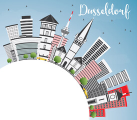 Dusseldorf Skyline with Gray Buildings, Blue Sky and Copy Space.
