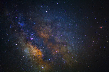 Clearly center of milky way galaxy at phitsanulok in thailand. Long exposure photograph.with grain