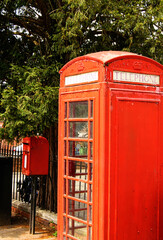 Red street telephone, call-box in Britain