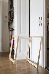 wooden frames in a hose of an artist