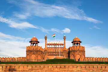 India national flag above the entrance gate of the Red Fort in New Delhi, the country captial city.
