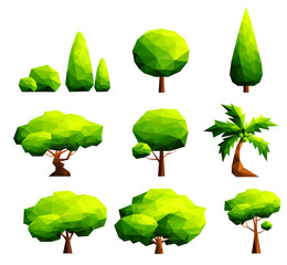 Set of polygonal trees and bushes-Vector Illustration