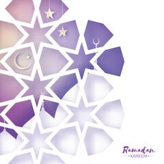 Ramadan Kareem Greeting card. Beautiful Mosque.Origami Arabesque Window. Arabic Ornamental pattern in paper cut style. Holy month of muslim. Crescent Moon. Purple.Vector