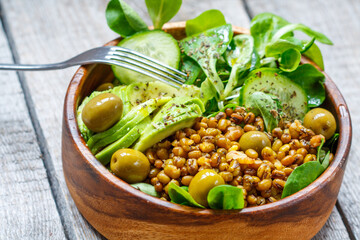 Healthy green salad with mung beans. Love for a healthy vegan food concept