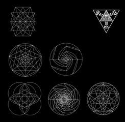Sacred geometry symbols and signes vector illustration. Hipster tattoo. Flower of life symbol.