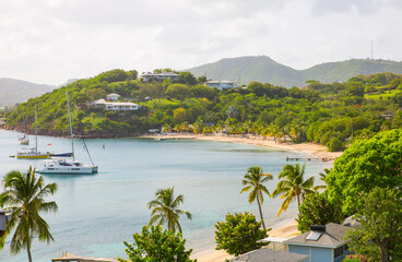 Antigua, Caribbean islands,  English harbour view with Freeman's bay and yachts anchored by the...