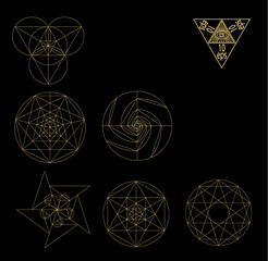 Sacred geometry symbols and signes vector illustration. Hipster tattoo. Flower of life symbol.