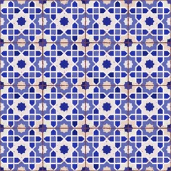 Islamic geometric seamless pattern, background in shades of blue, indigo