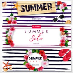 Set of summer sale banner design