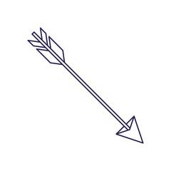 purple line contour of hunting arrow vector illustration