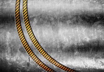 grunge metal with warning striped background