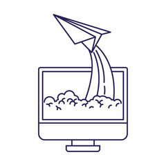 purple line contour of lcd monitor and paper plane vector illustration
