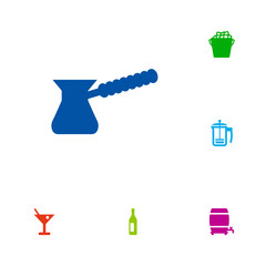 Set Of 6 Drinks Icons Set.Collection Of Pot, Cask, Wine And Other Elements.