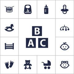 Set Of 13 Kid Icons Set.Collection Of Hangings, Baby, Abc Block And Other Elements.