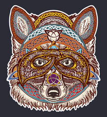 Fox color tattoo art. Fox viking in the celtic style, tattoo art. Wolf t-shirt design art animals. North tattoo. Animals in ethnic style vector