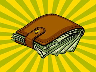 Fotobehang Pop Art Full wallet with money pop art vector
