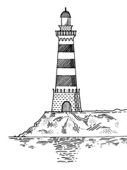 Lighthouse engraving style vector illustration