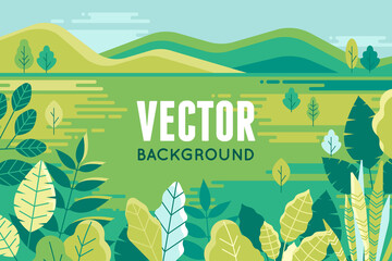 Vector illustration in trendy flat and linear style - background with copy space for text - plants, leaves and forest landscape