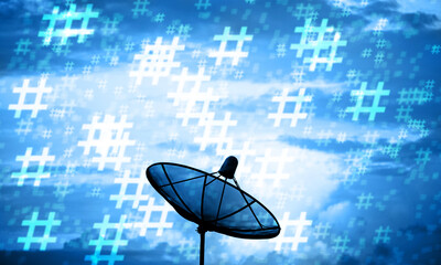 Silhouette Satellite dish and hashtag pattern. Communication technology network concept.