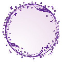 frame with lilac, butterflies and dragonflies