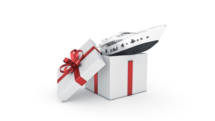 Yacht, luxury boat. Gift box concept. 3D rendering