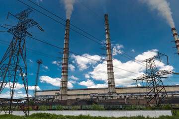 Thermal power stations and power lines. Distribution electric substation
