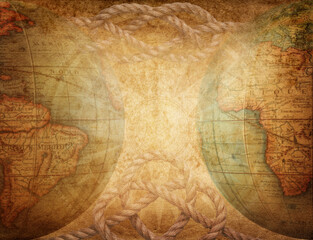 Survival, exploration and nautical theme grunge background. Globe, sea knot on vintage paper.