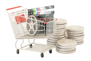 Shopping cart with film reels and digital clapperboard. 3D rendering