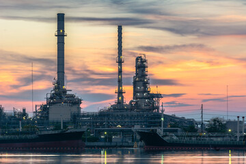 Oil Refinery at Twilight in Bangkok, Thailand