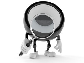Speaker character looking through magnifying glass