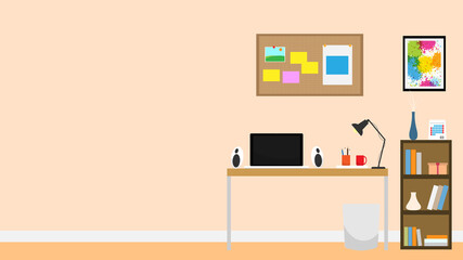 Interior room office notebook vector background flat design