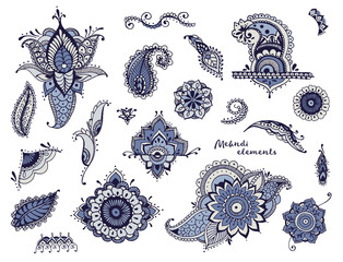 Set of hand drawn different mehndi elements. Stylized flowers, leaves, indian paisley collection. Colorful ethnic illustration.