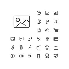 Image icon in set on the white background. Universal linear icons to use in web and mobile app.