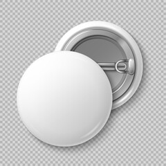 White blank badging round button badge isolated vector template