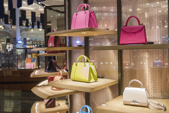 Woman purses in a store in Paris